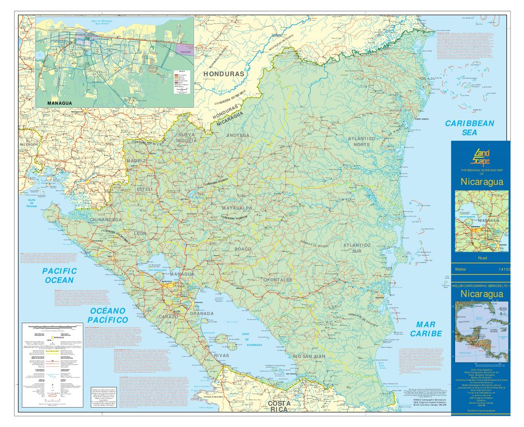 Large detailed road map of Nicaragua with cities, airports and other marks