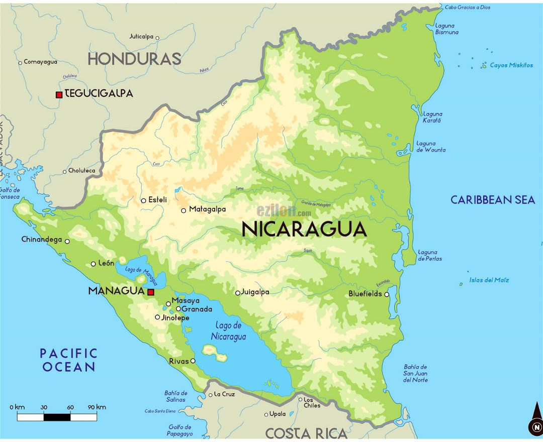 Large elevation map of Nicaragua with major cities