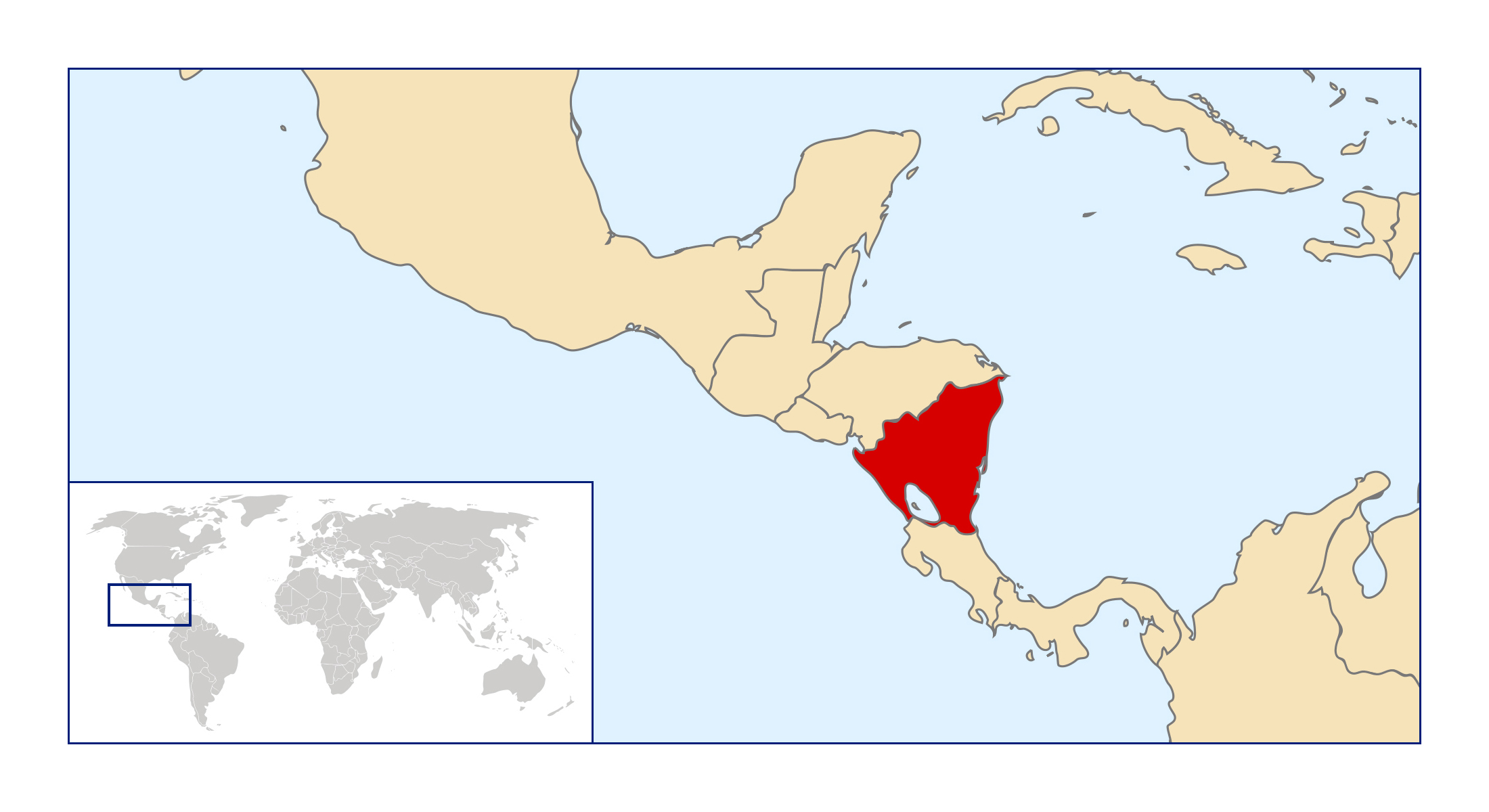 Large location map of nicaragua nicaragua north america large location map of nicaragua gumiabroncs Image collections