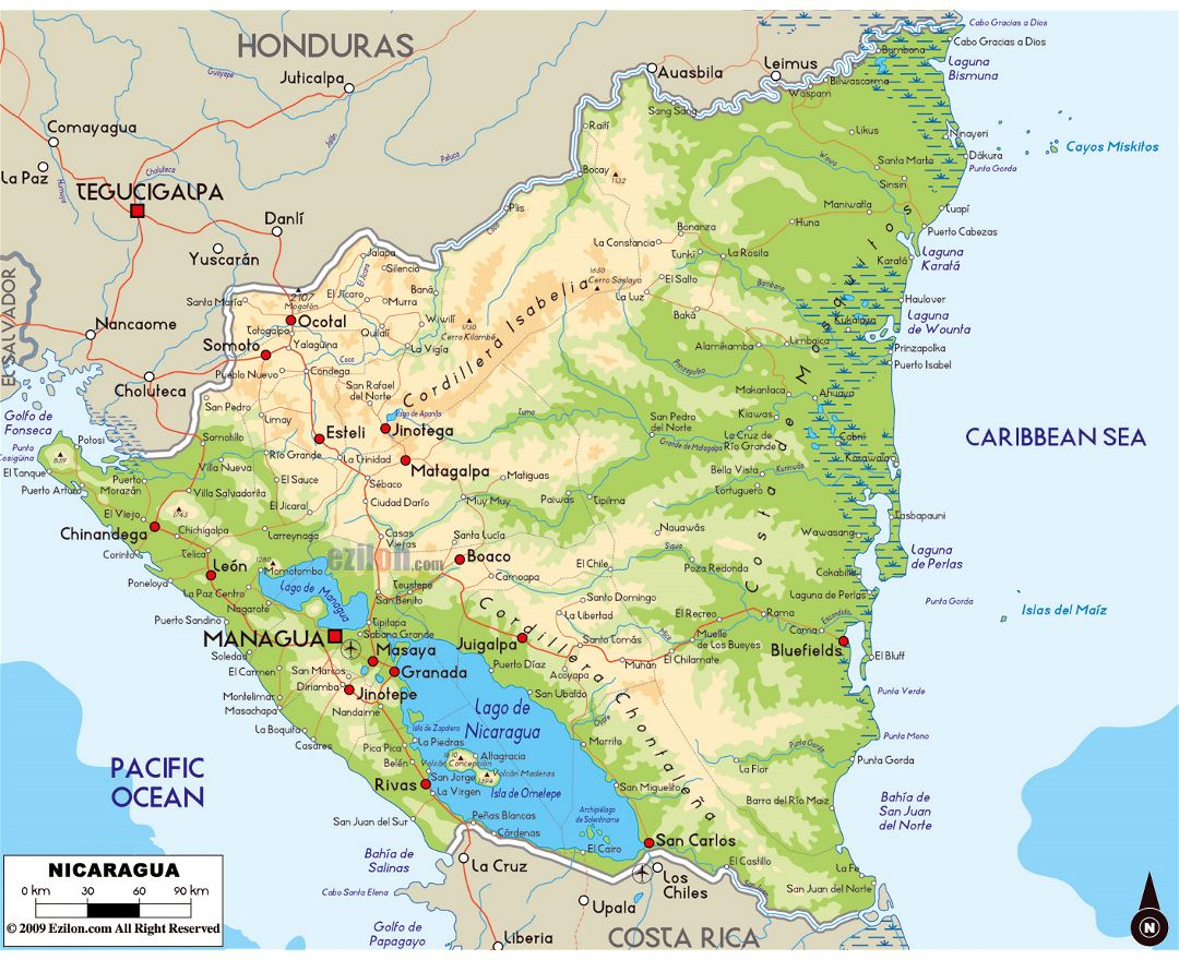 Large physical map of Nicaragua with roads, cities and airports