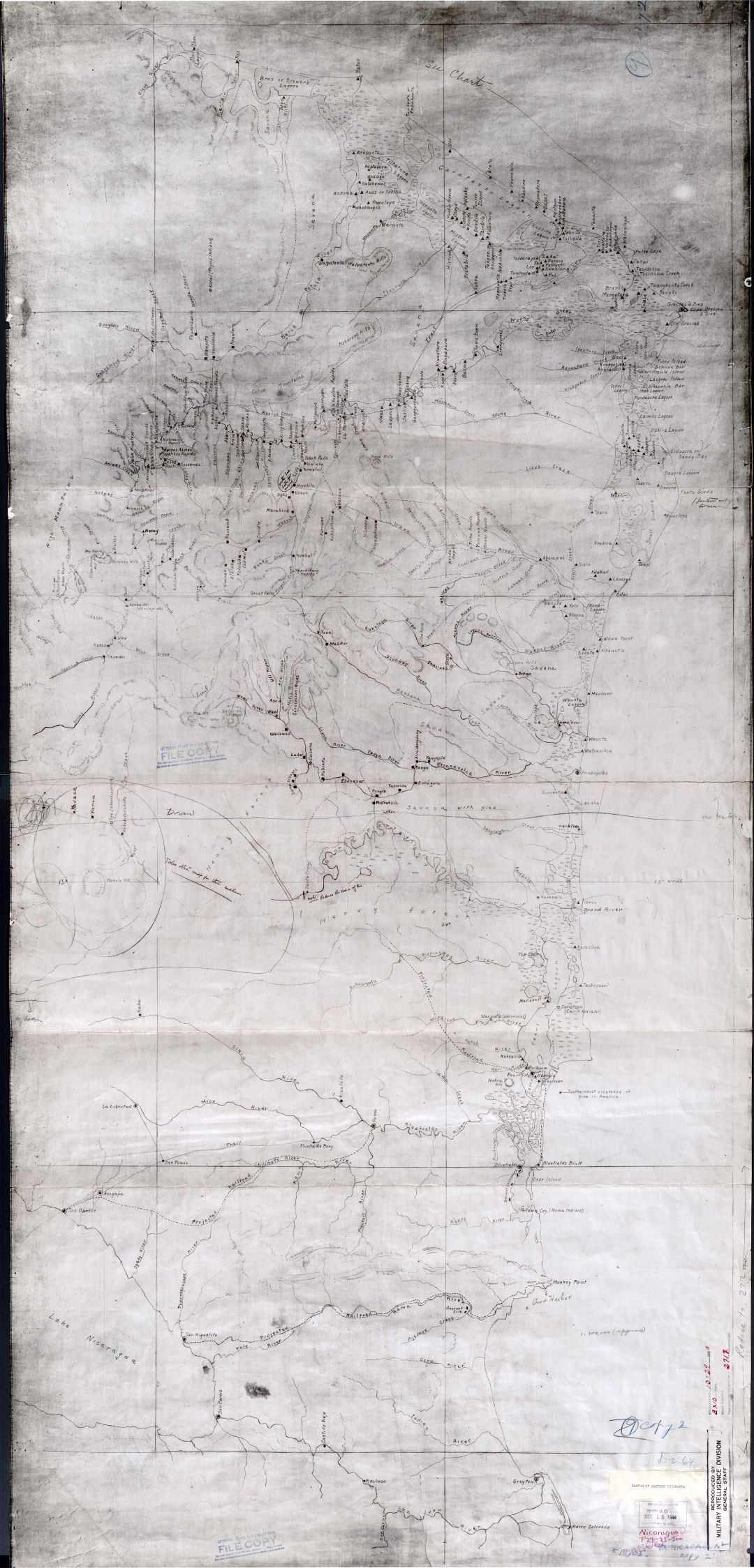 Large scale detailed old map of Eastern Nicaragua - 1928