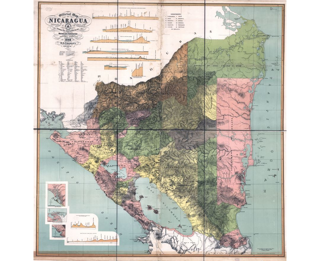 Large scale detailed old map of Nicaragua with relief and administrative divisions - 1898