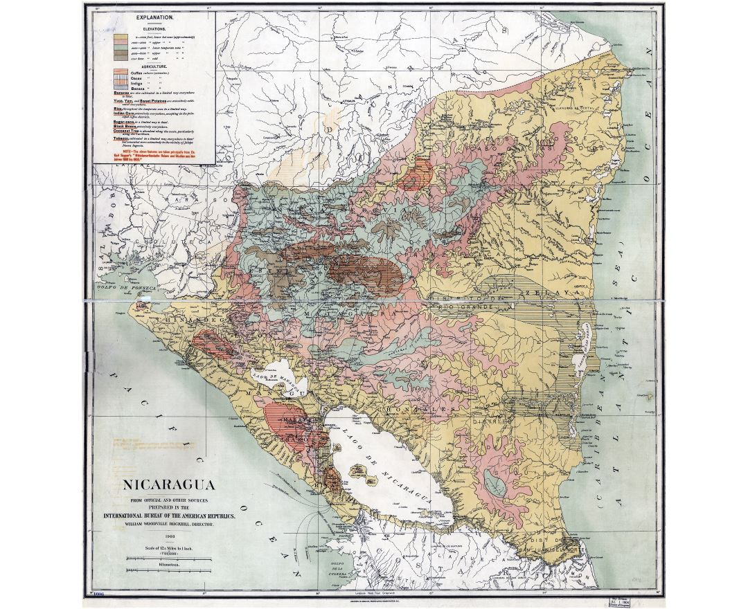 Large scale old elevation map of Nicaragua with other marks - 1903