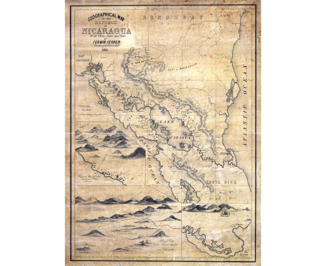 Large scale old geographical map of the Republic of Nicaragua - 1855
