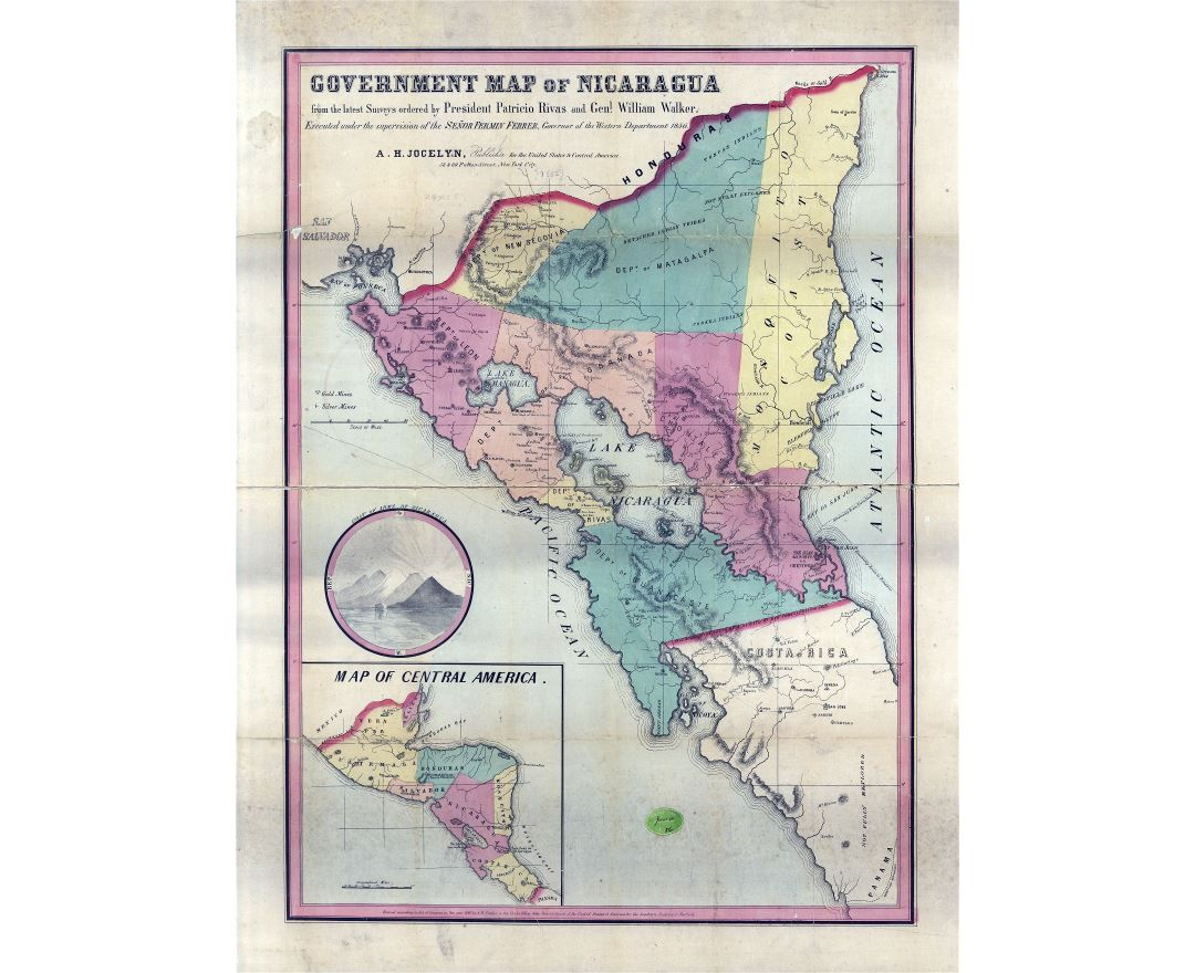 Large scale old government map of Nicaragua - 1856