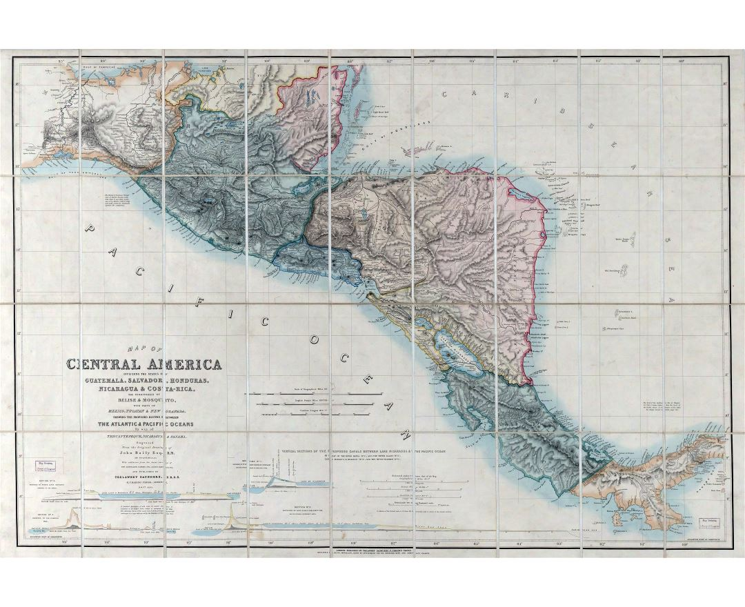 Large scale old map of Central America - 1850
