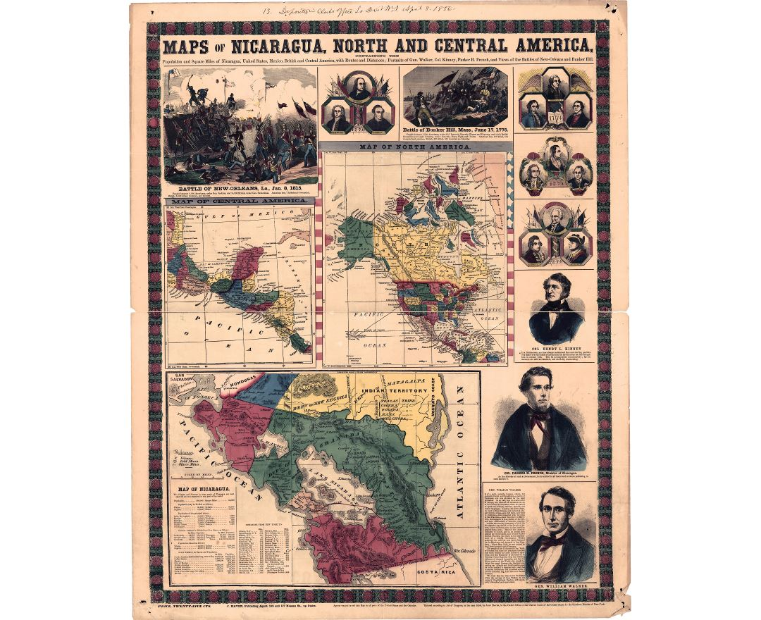 Large scale old map of Nicaragua, North and Central America - 1856