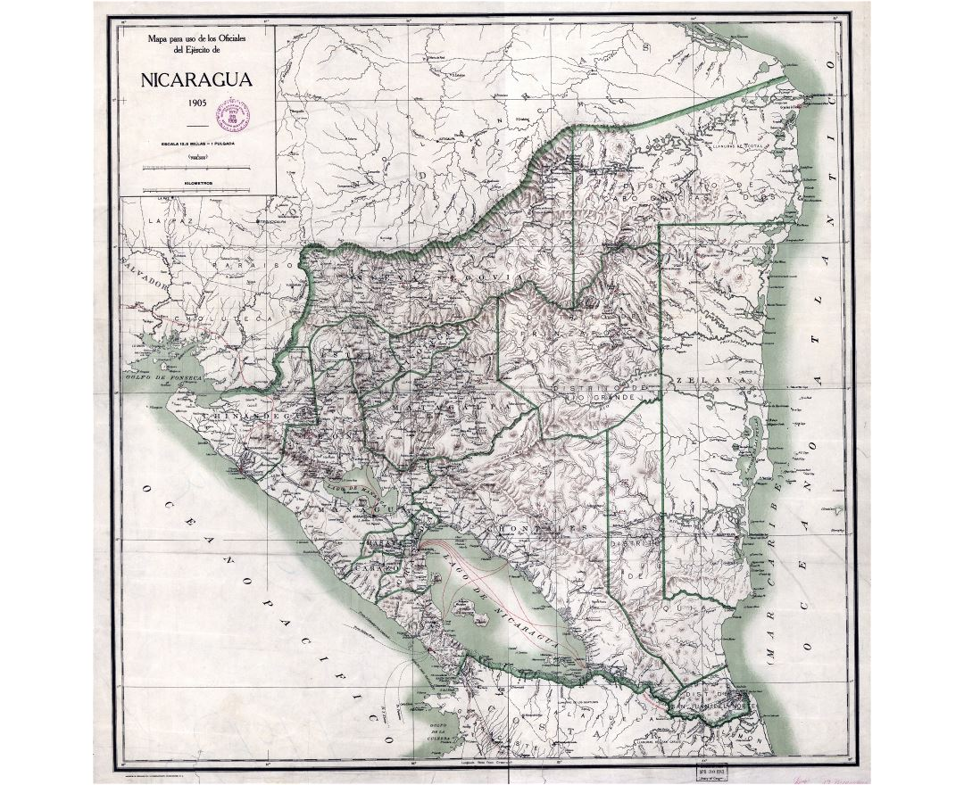 Large scale old map of Nicaragua with administrative divisions and relief - 1905