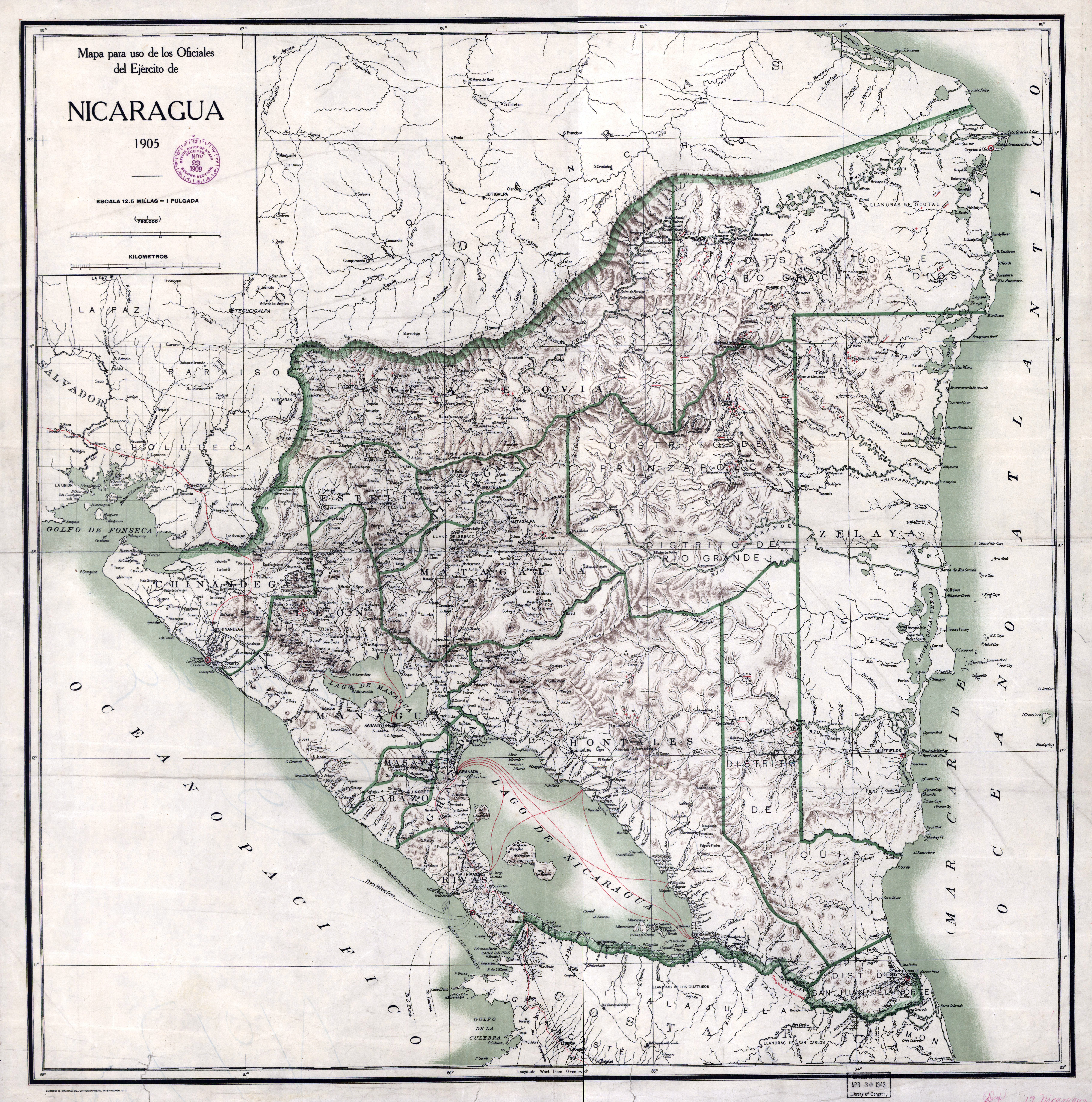 Large scale old map of Nicaragua with administrative divisions and