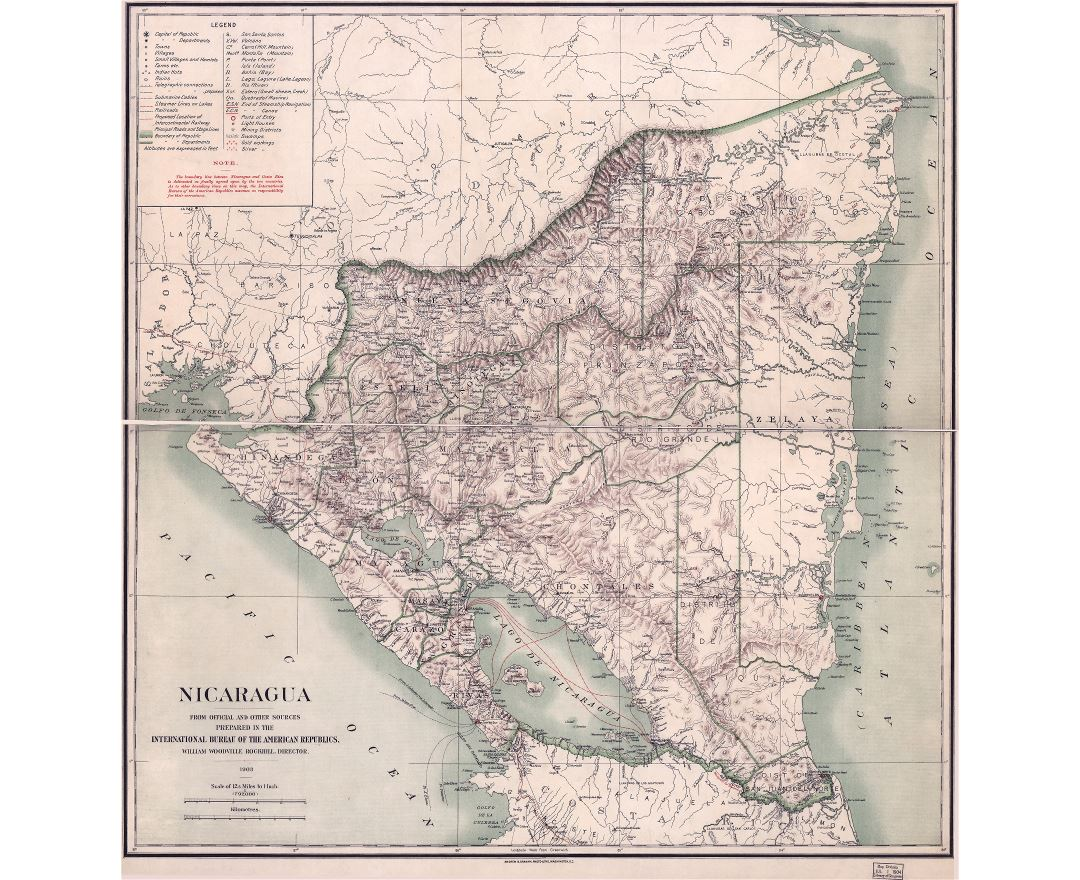 Large scale old political and administrative map of Nicaragua with relief and other marks - 1903