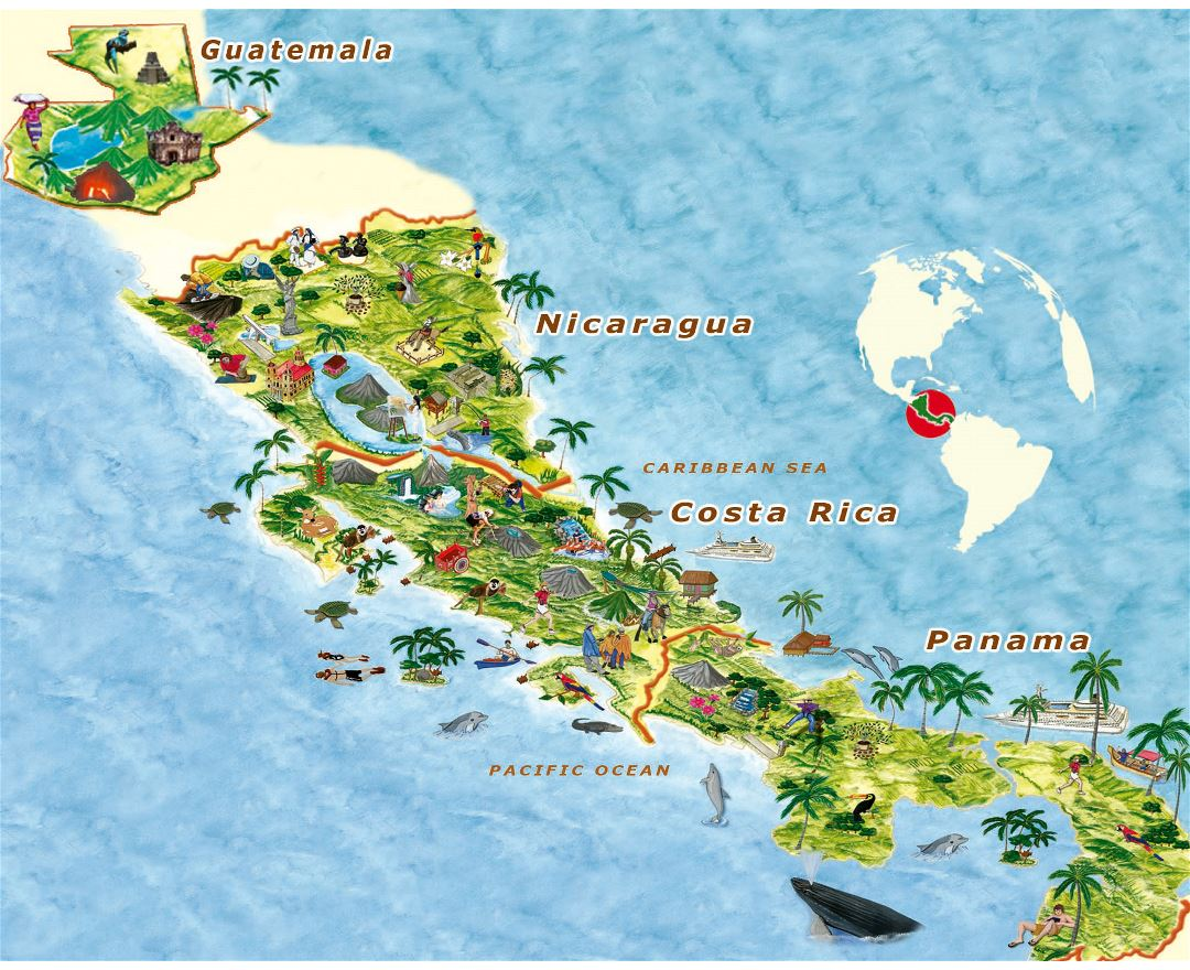 Large travel illustrated map of Central America