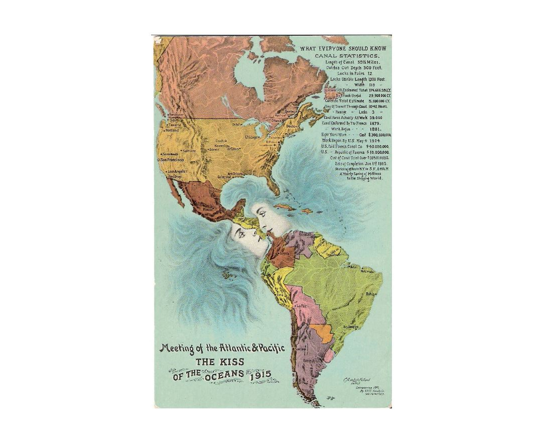 Detailed old kiss of the oceans map of America - 1915