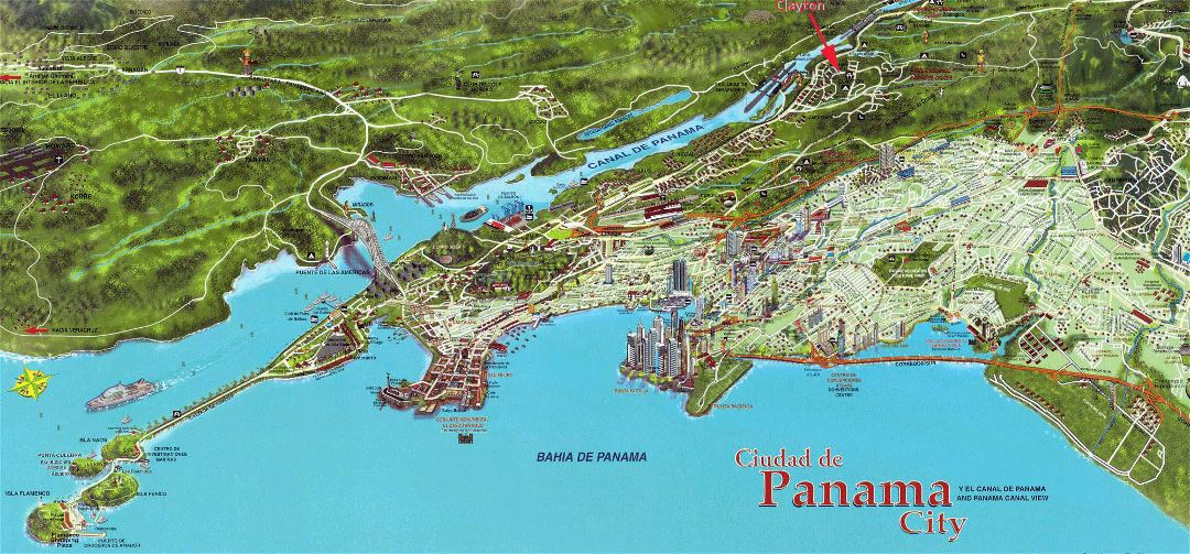 Detailed panoramic map of the Panama city