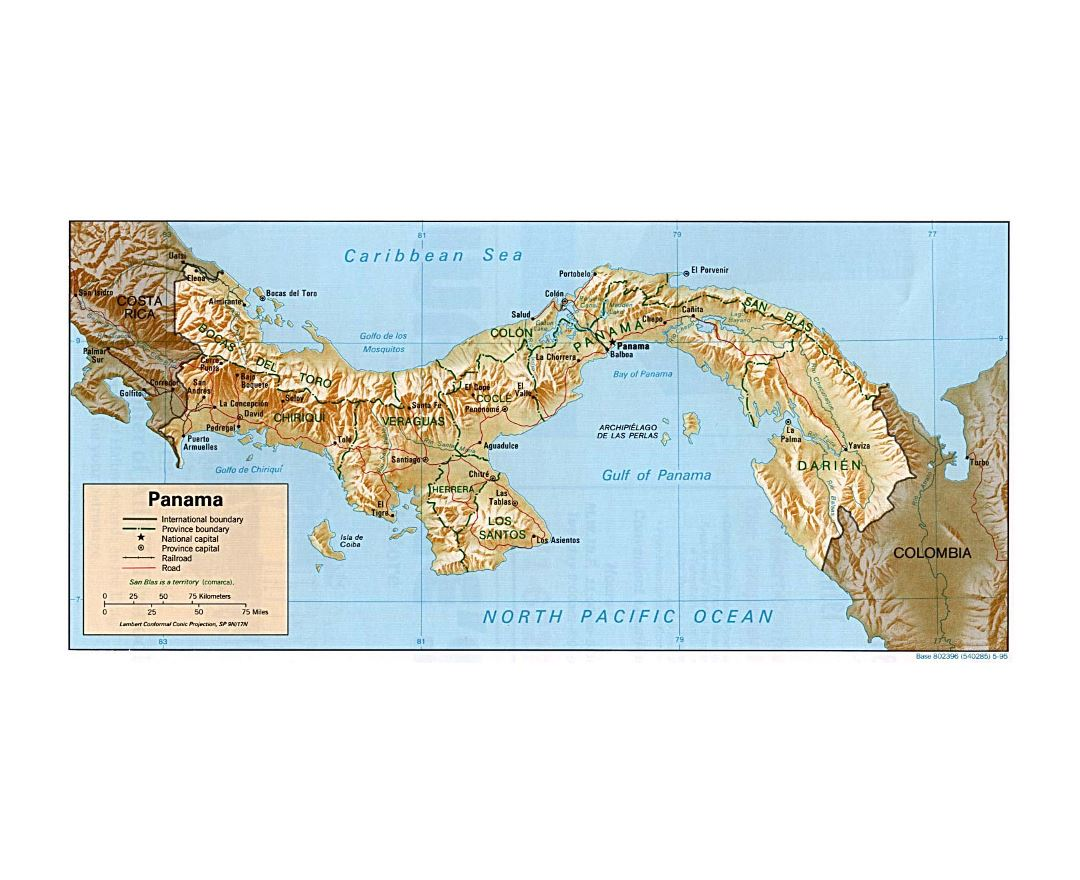Detailed political and administrative map of Panama with relief, roads, railroads and cities - 1995