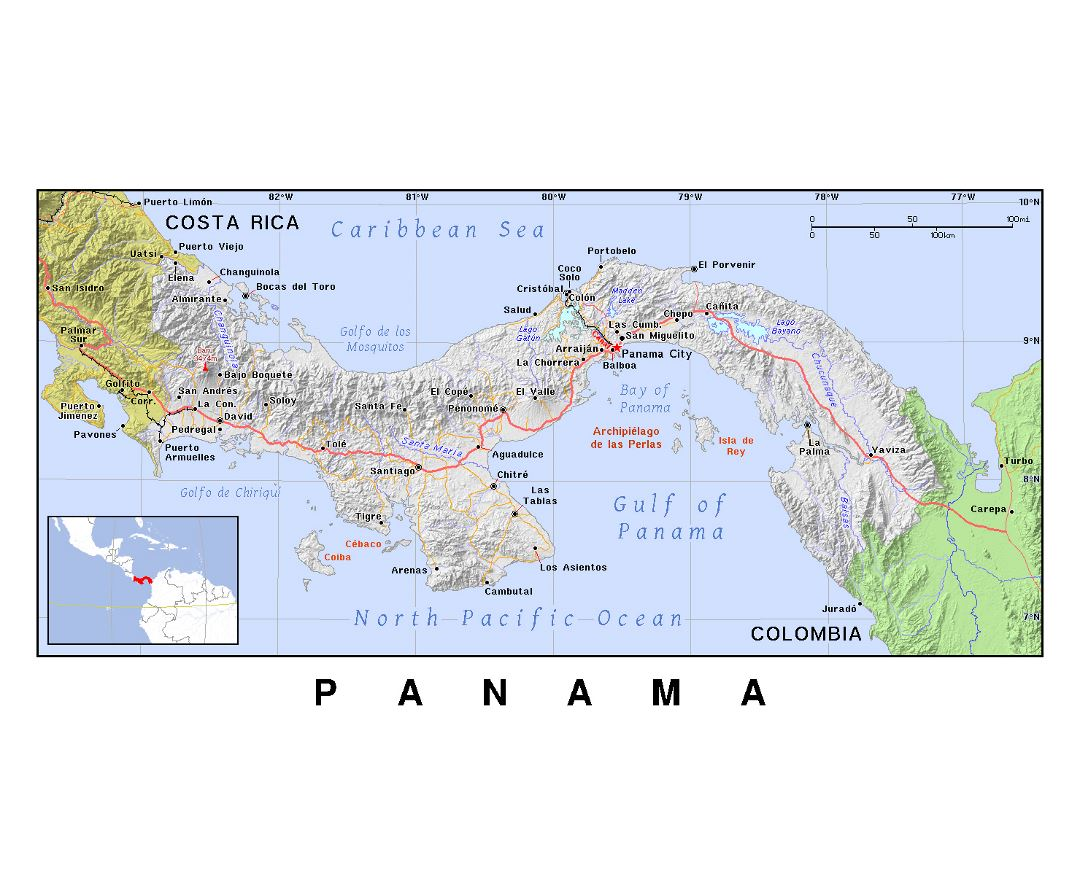 Detailed political map of Panama with relief