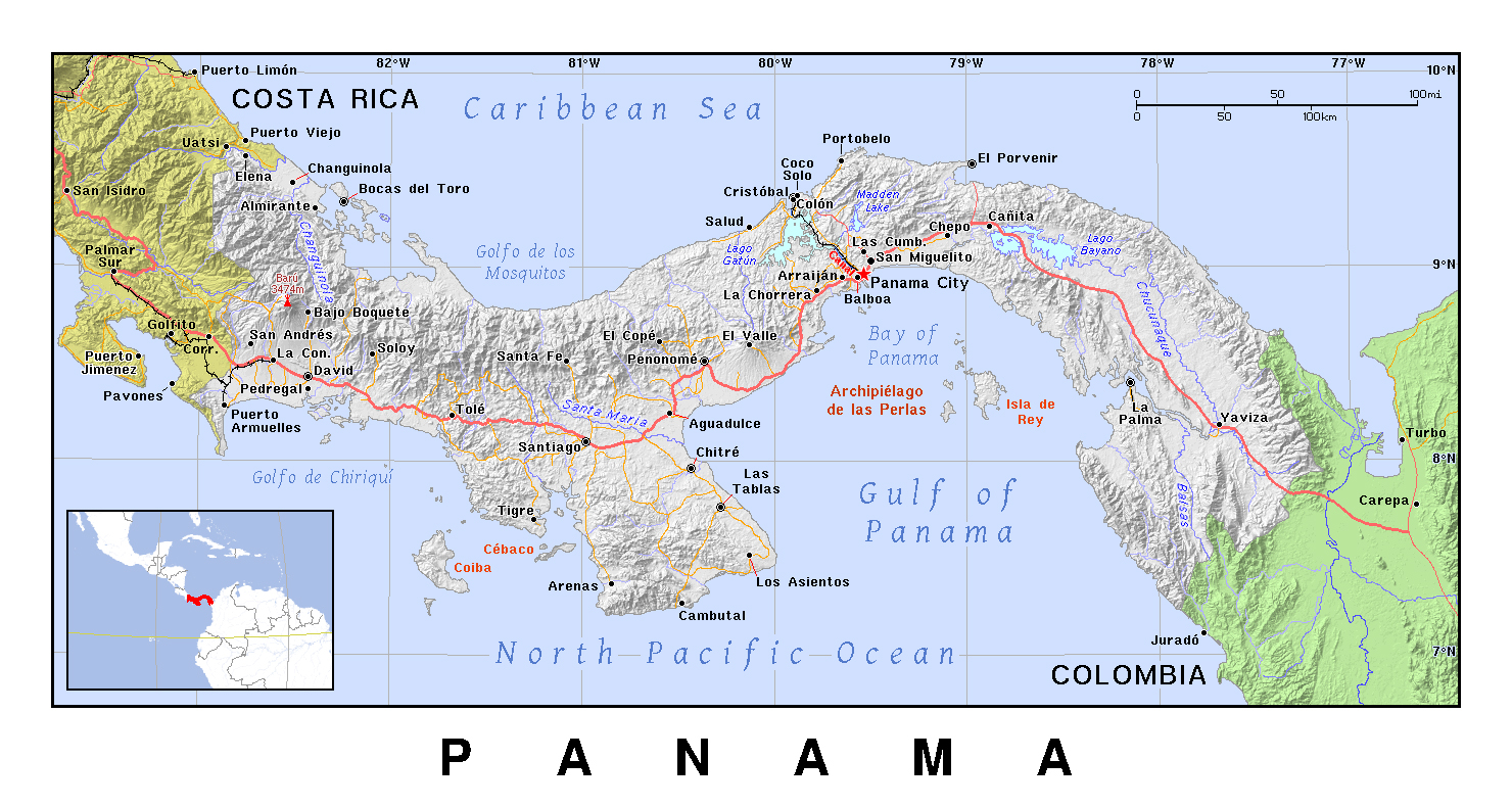 Detailed Political Map Of Panama With Relief Panama North