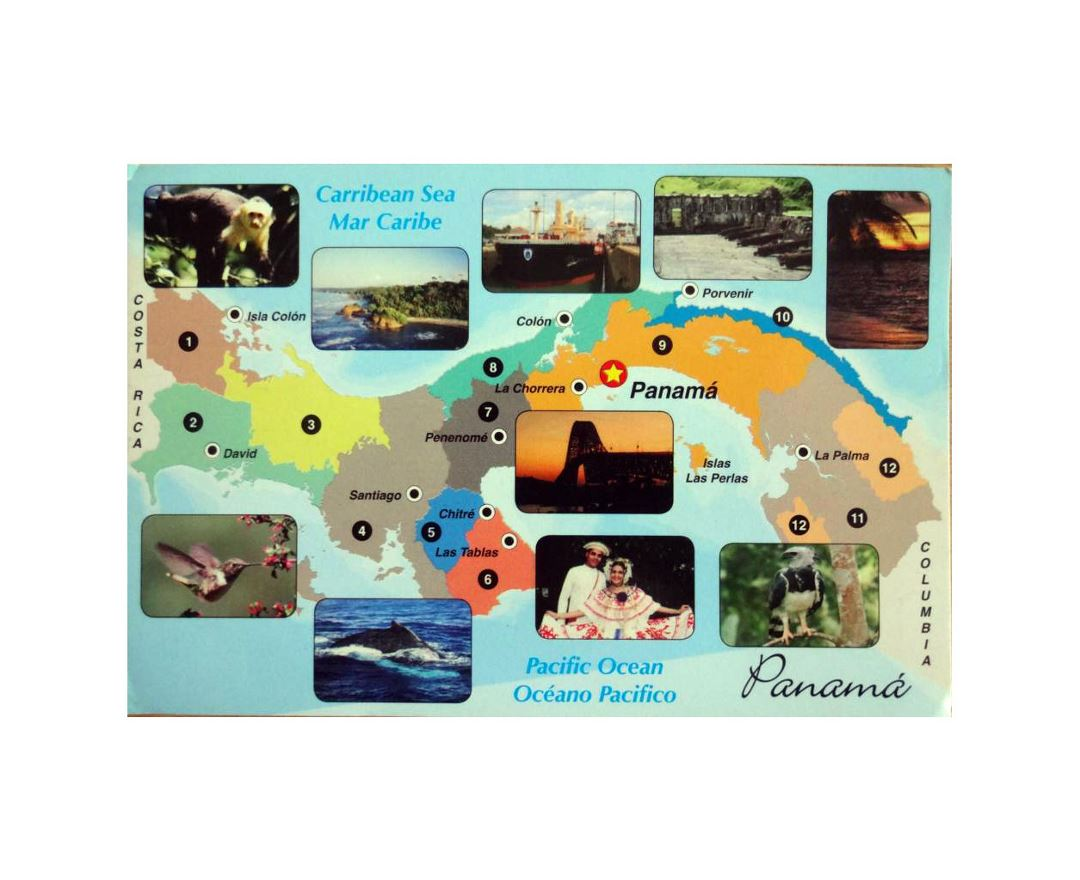Detailed travel map of Panama