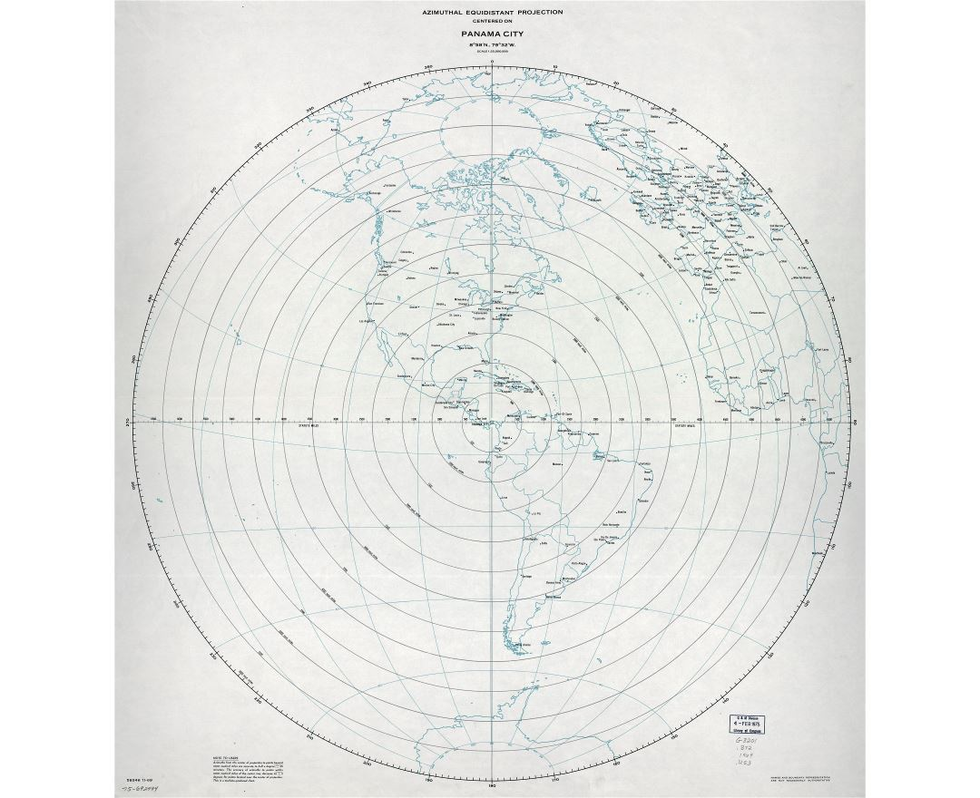 Large detailed azimuthal equidistant projection map centered on Panama city, Panama - 1969