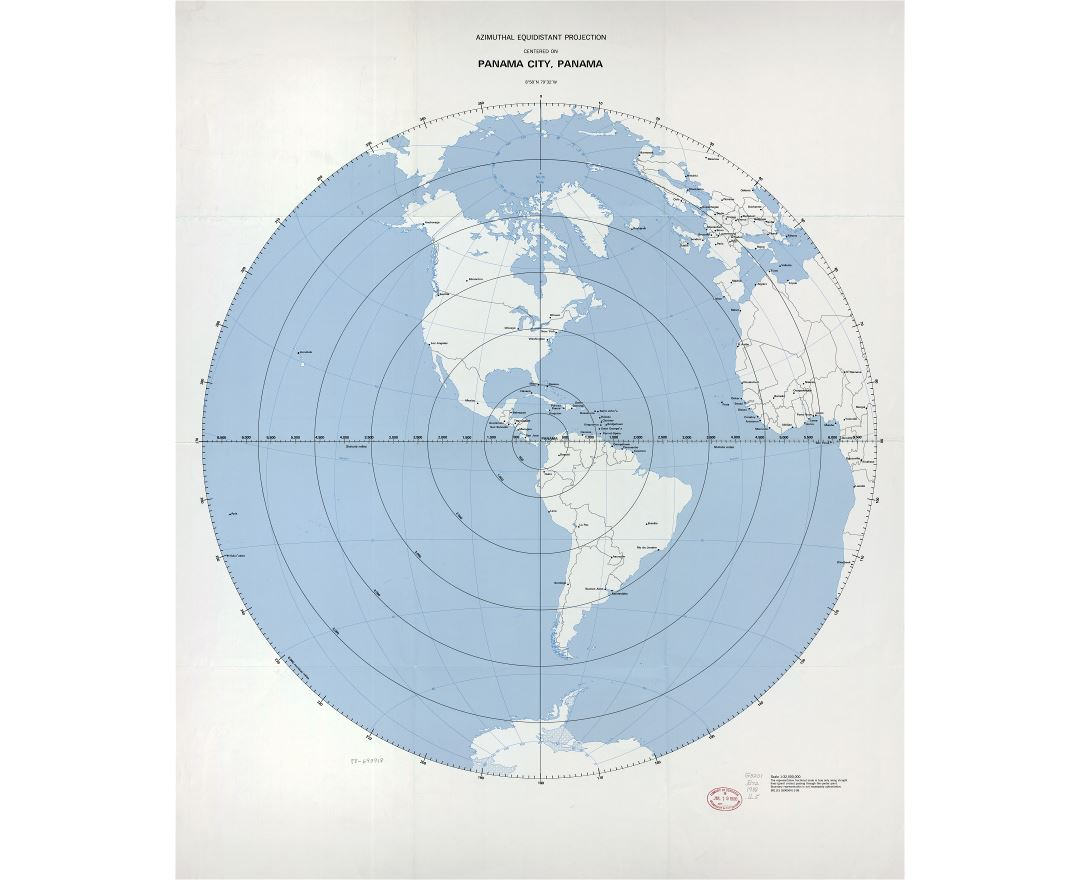 Large detailed azimuthal equidistant projection map centered on Panama city, Panama - 1988