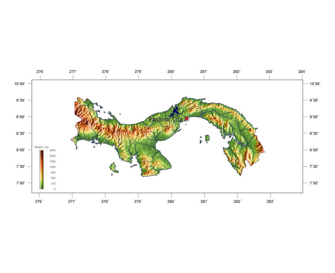 Large detailed elevation map of Panama