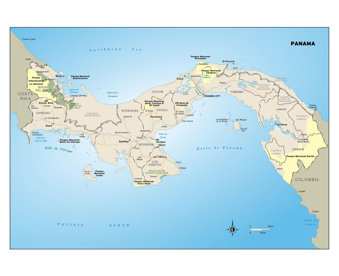 Large detailed map of Panama with administrative divisions, roads, cities and national parks
