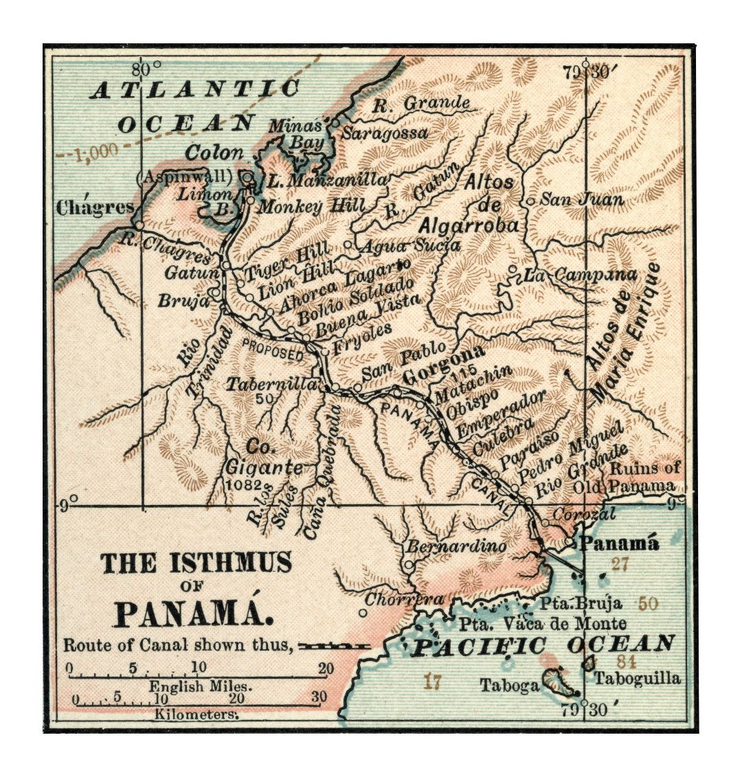Large detailed old map of Panama canal with relief