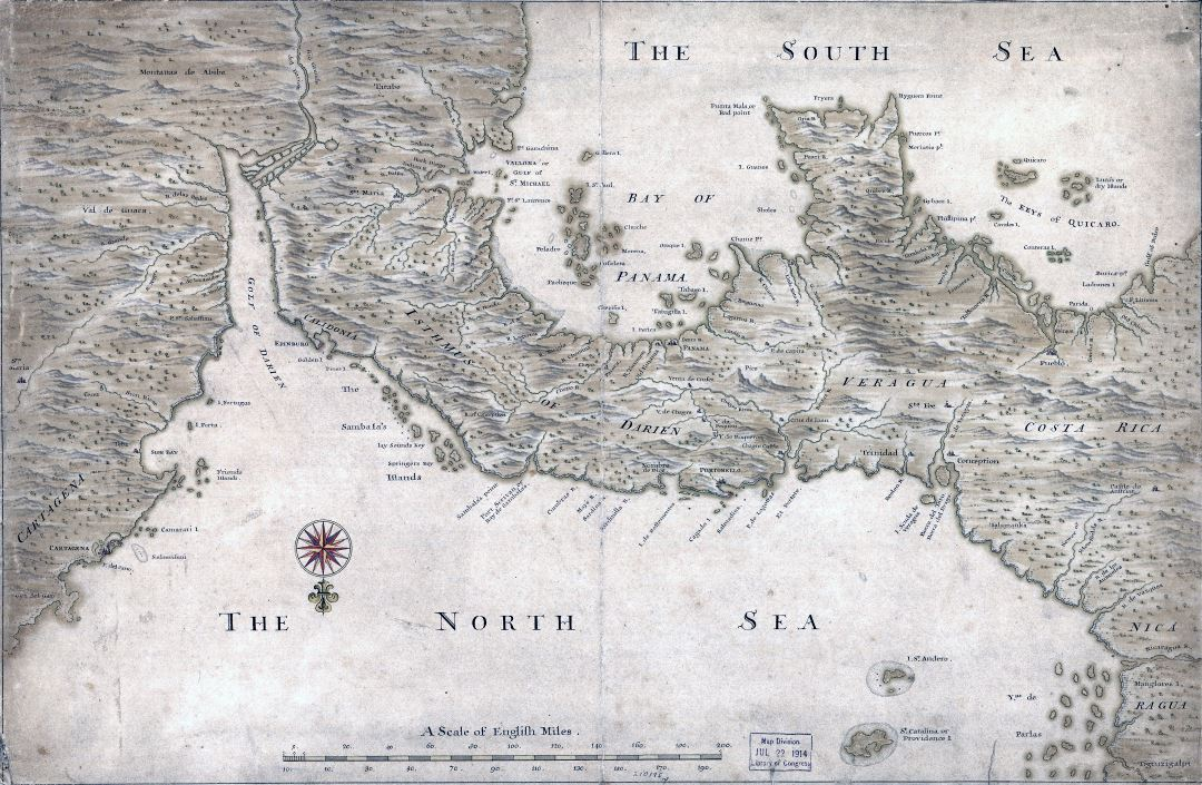 Large detailed old map of Panama with relief and other marks - 17xx