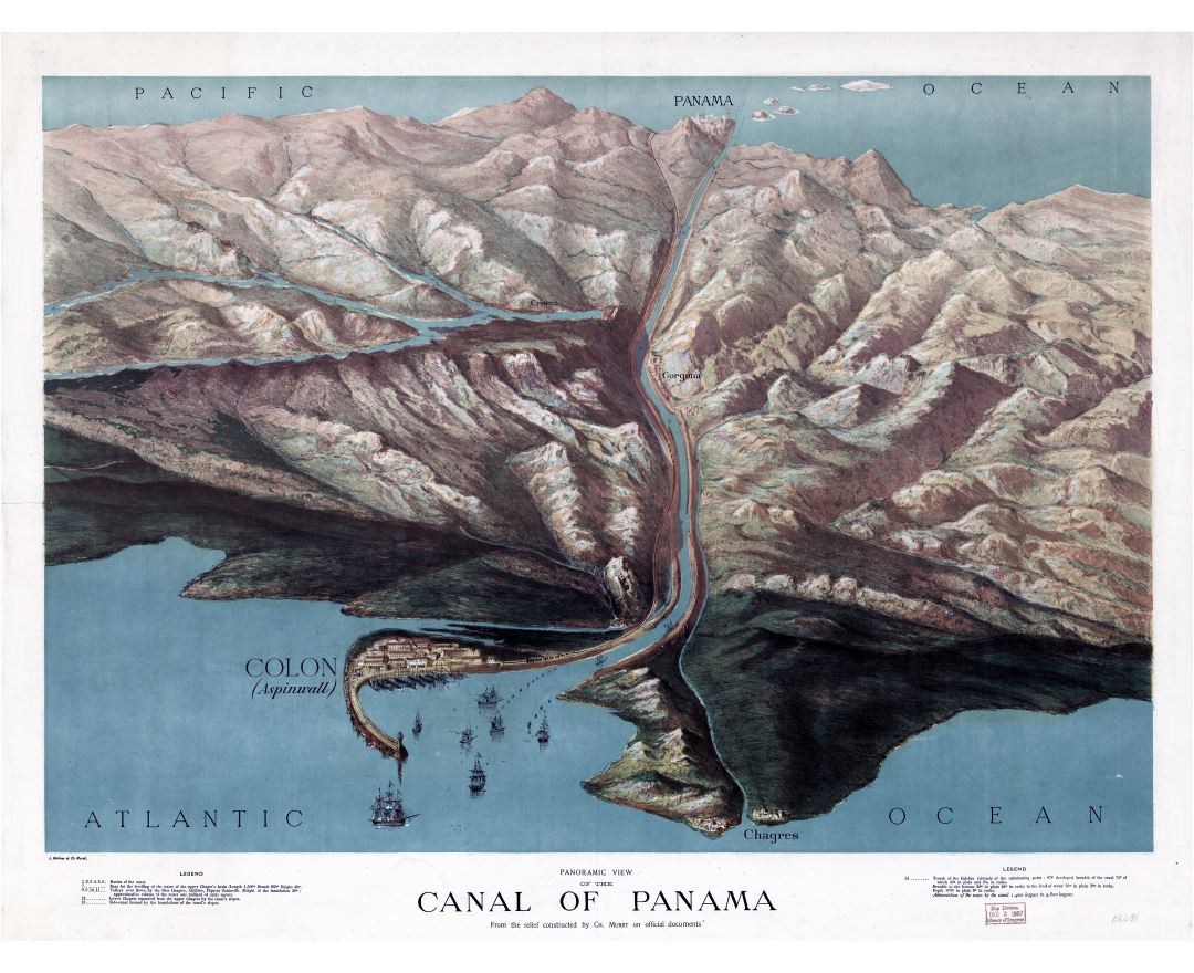 Large detailed old panoramic view of the canal of Panama - 1881