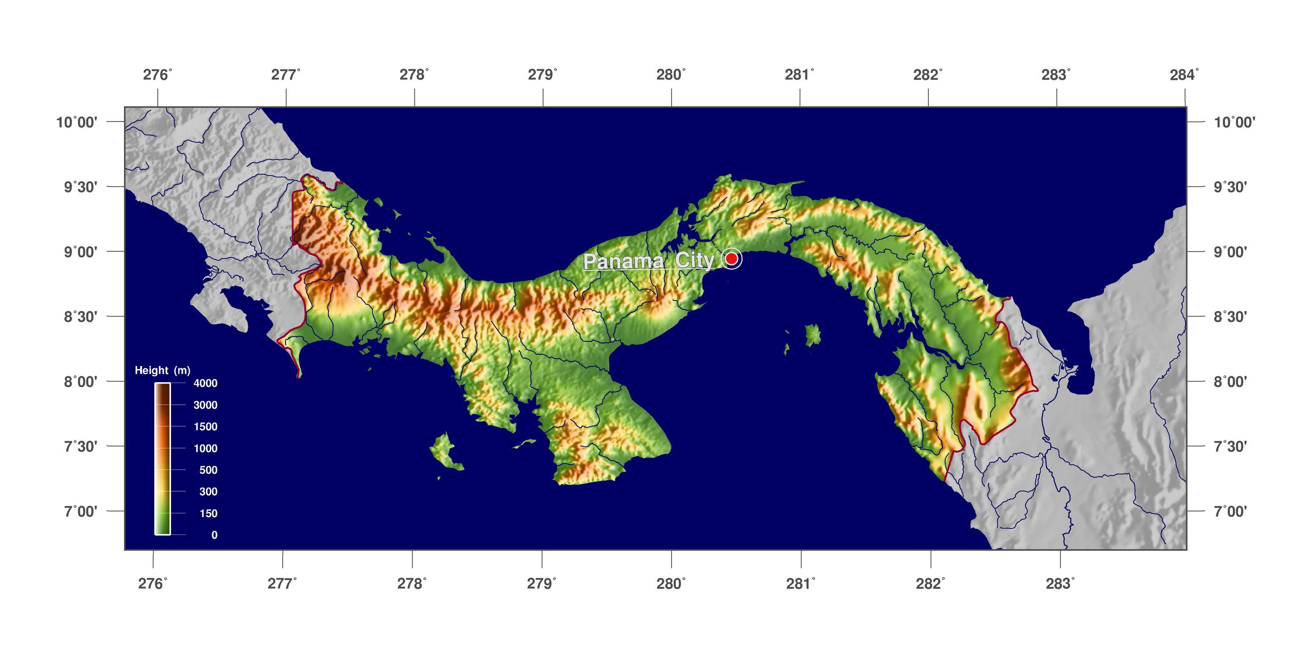 Panama Physical Map Map Of South Carolina And Georgia Where Is - Physical map of panama