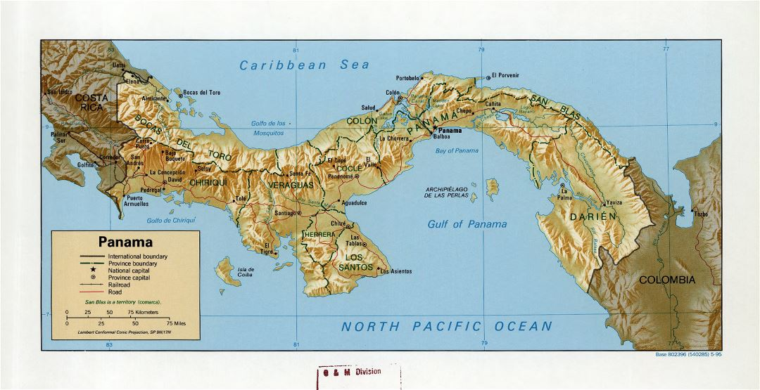 Large detailed political and administrative map of Panama with relief, roads, railroads and cities - 1995