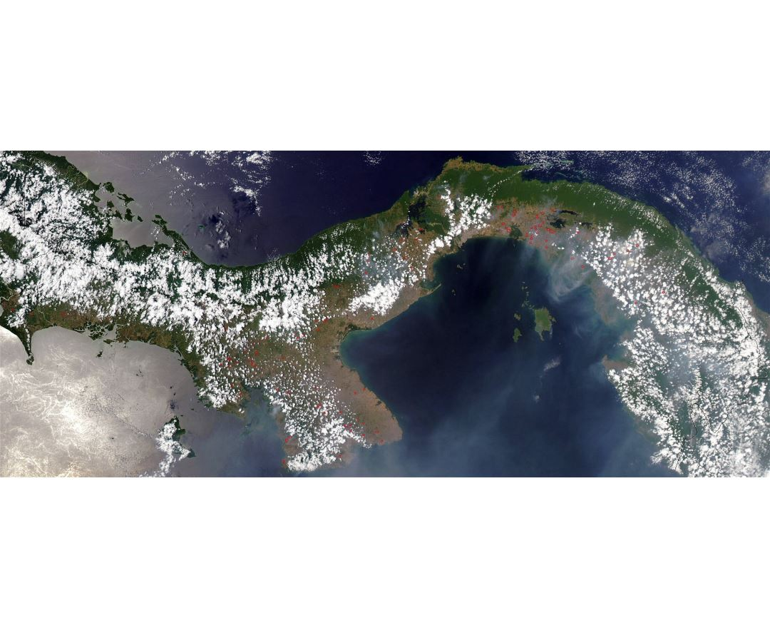 Large detailed satellite map of Panama