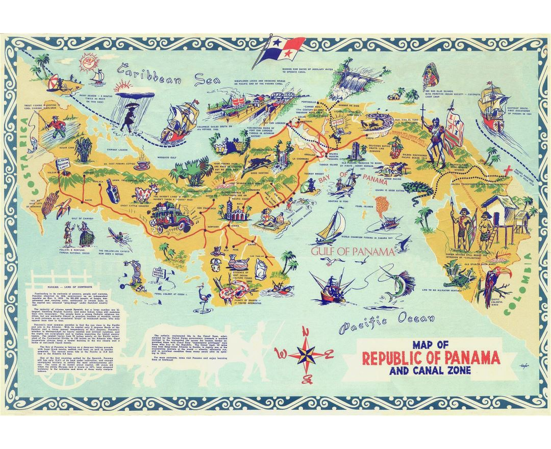Large detailed tourist illustrated map of Panama