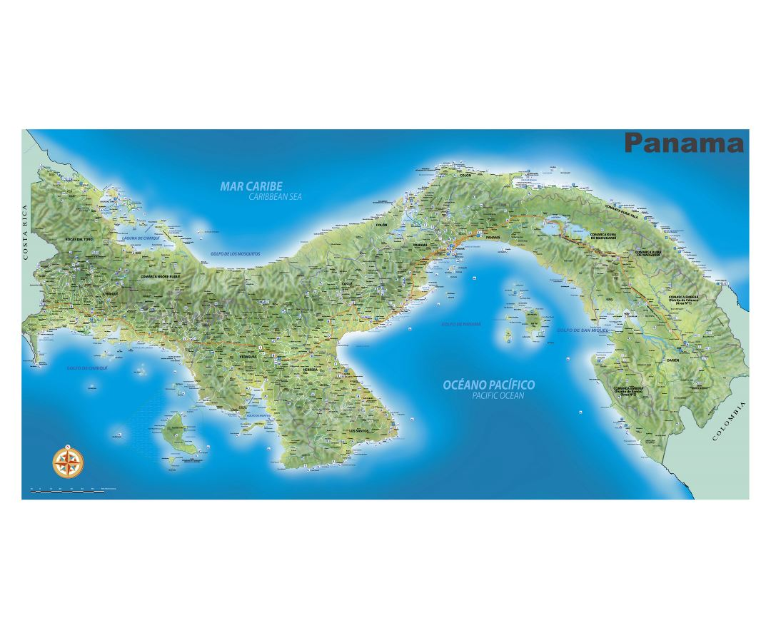 Large detailed travel map of Panama with relief, roads, cities, sea ports, airports and other marks