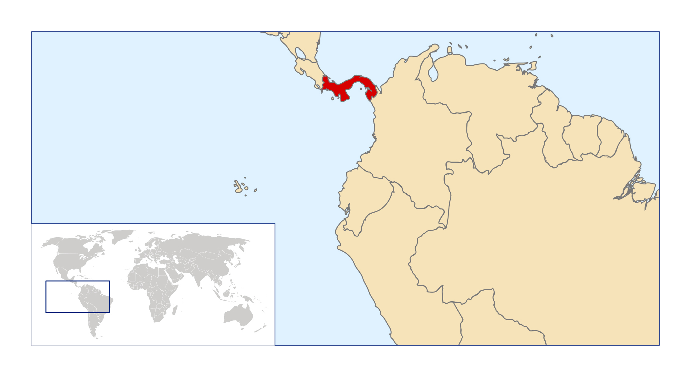 Large location map of Panama in Central America | Panama | North ...