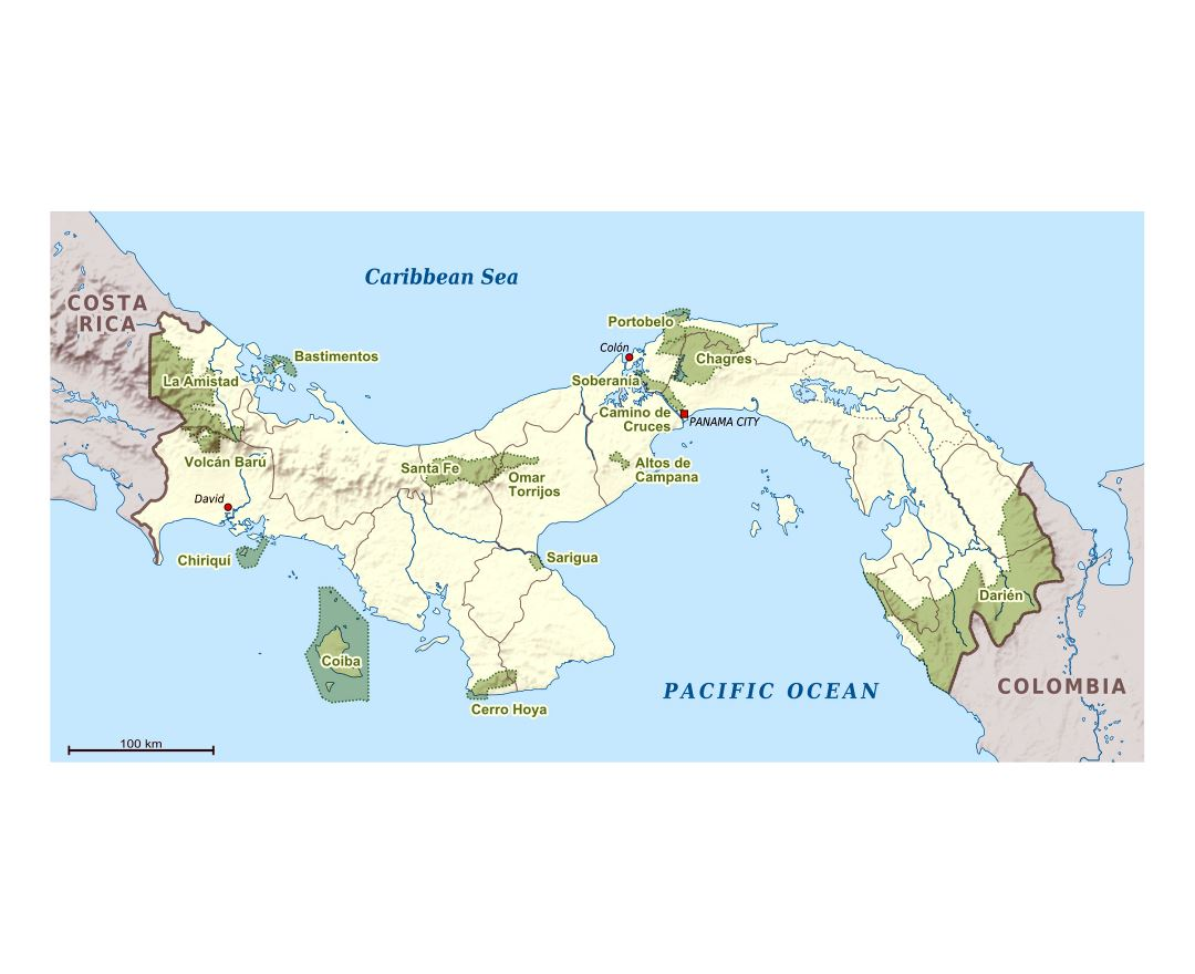 Large national parks map of Panama