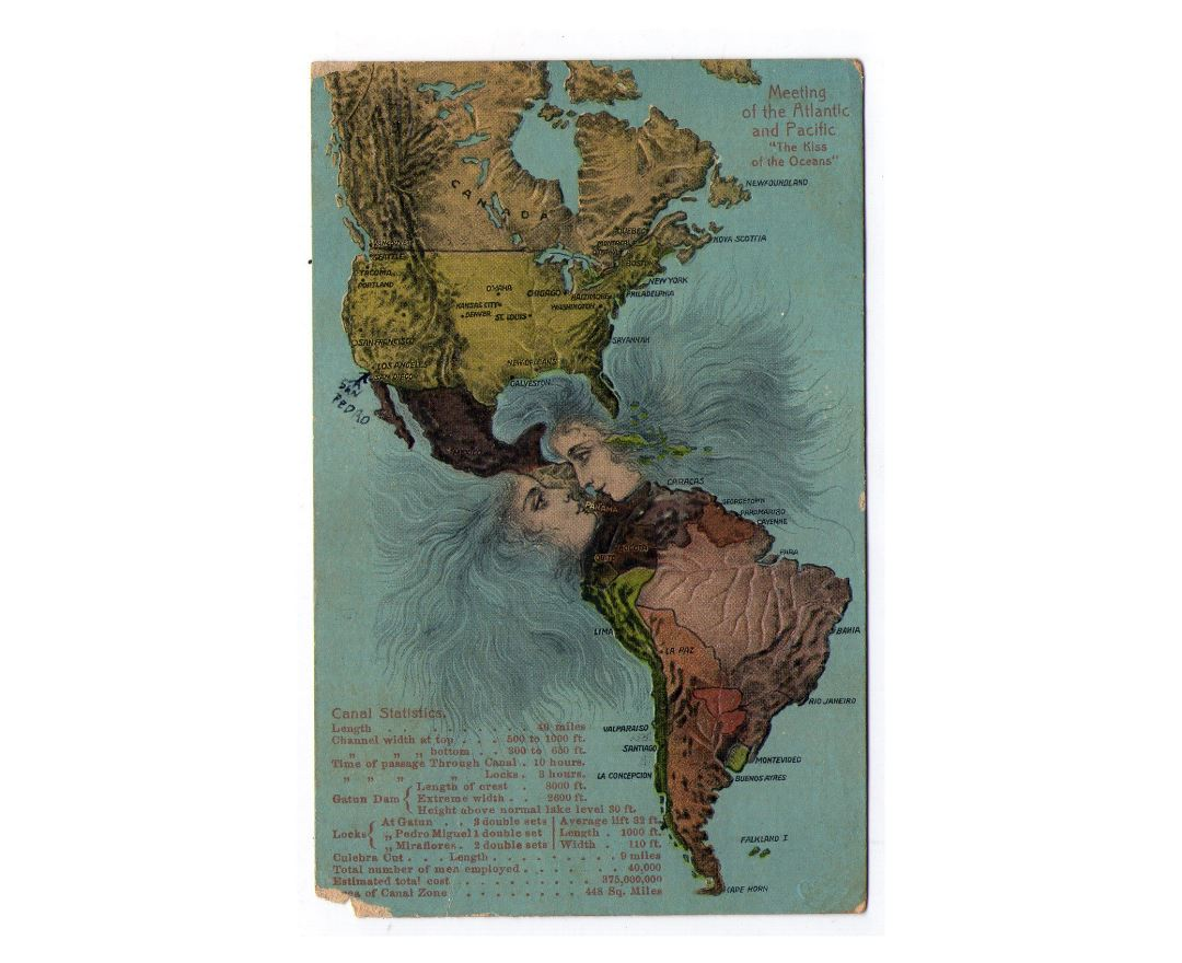 Large old kiss of the oceans map of America