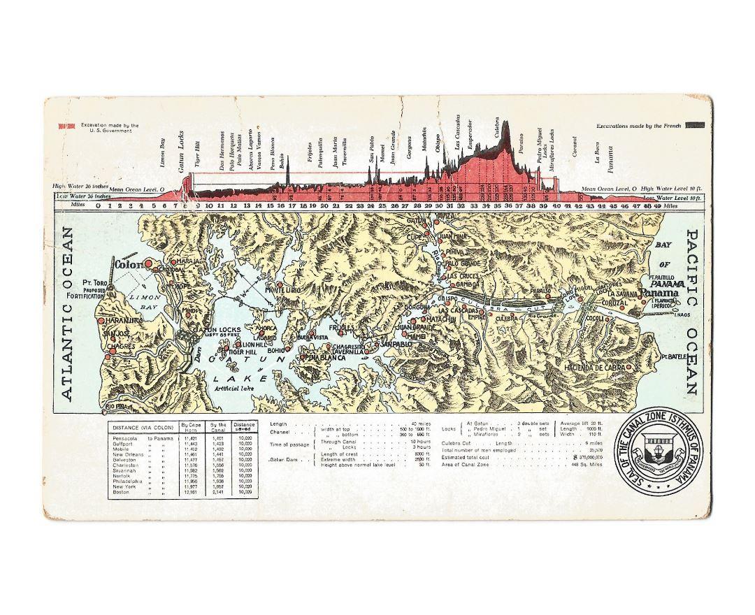 Large old map of Panama canal with relief