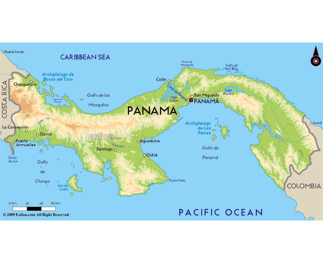 Large physical map of Panama with major cities