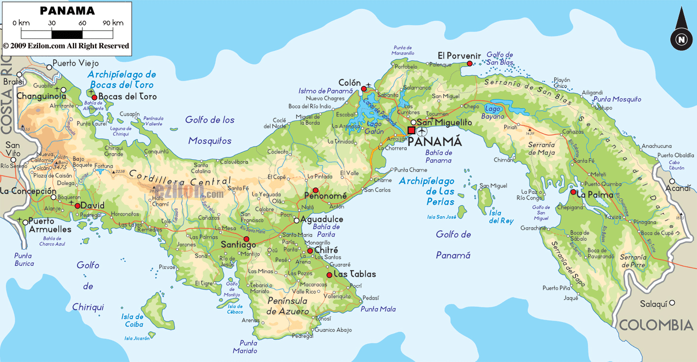 large physical map of panama with roads cities and airports. large physical map of panama with roads cities and airports