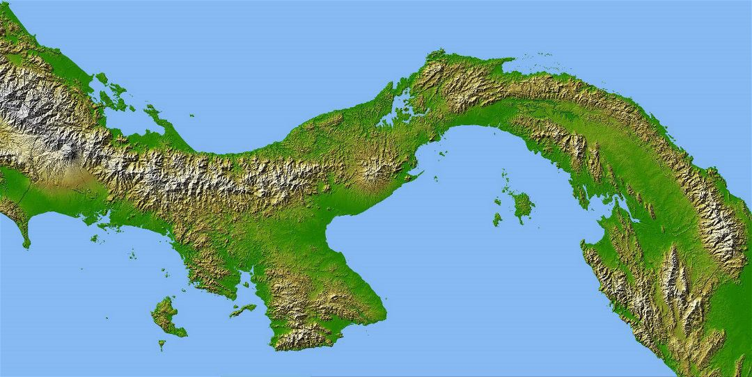 Large relief map of Panama