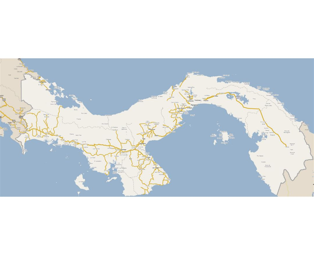 Large road map of Panama with cities