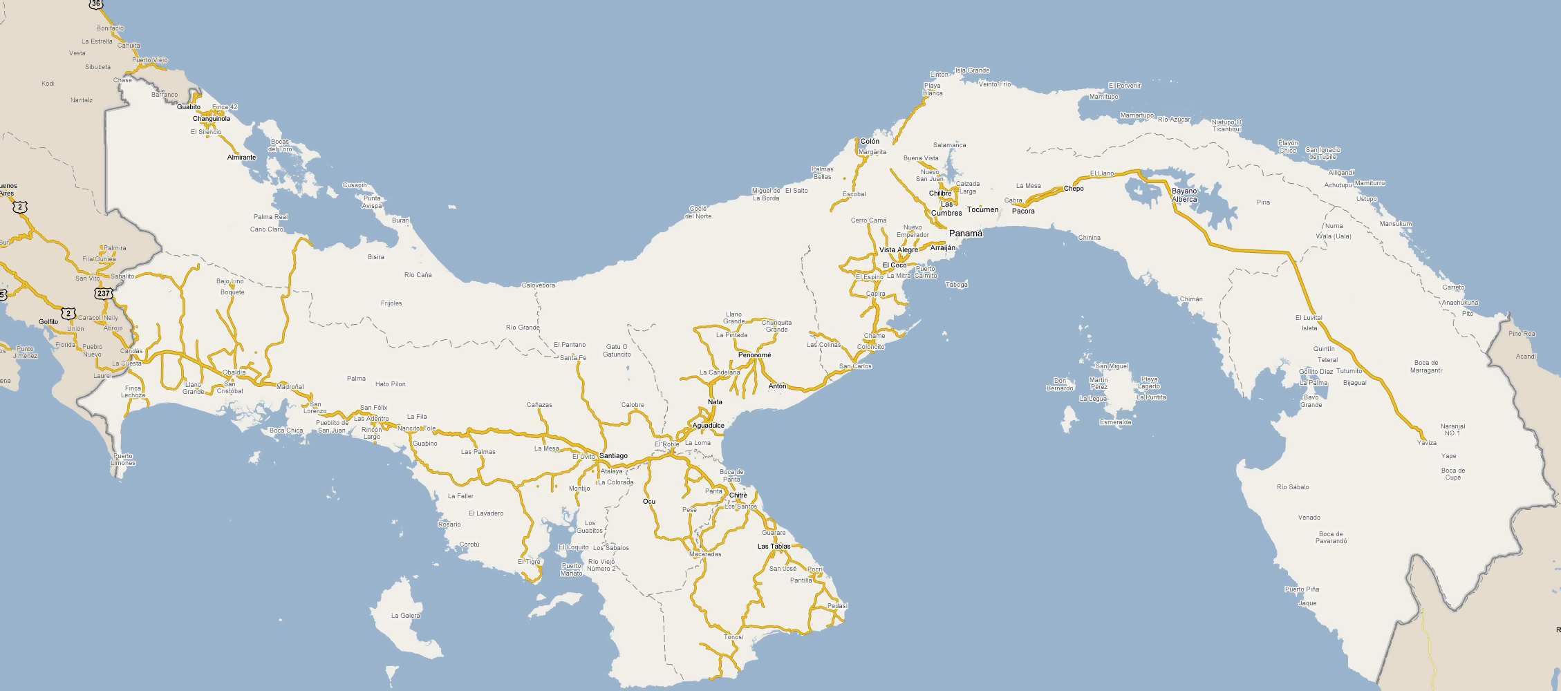 Large Road Map Of Panama With Cities Panama North America - World map panama