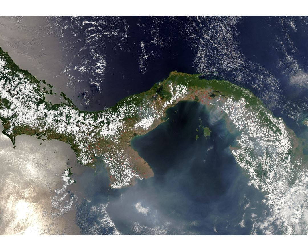 Large satellite map of Panama