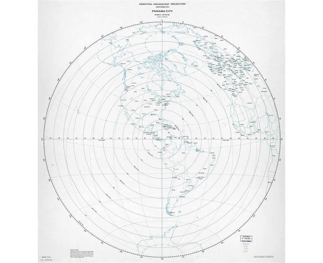 Large scale detailed azimuthal equidistant projection map centered on Panama city, Panama - 1969