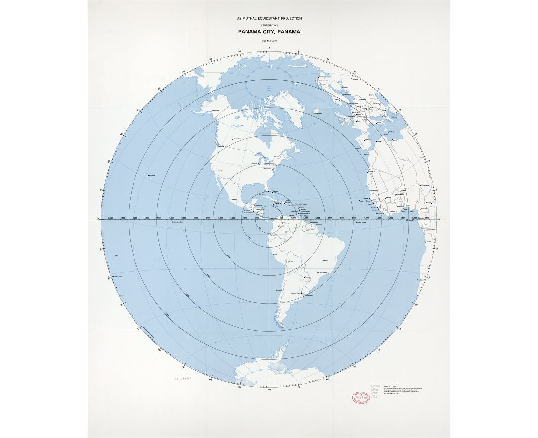 Large scale detailed azimuthal equidistant projection map centered on Panama city, Panama - 1988