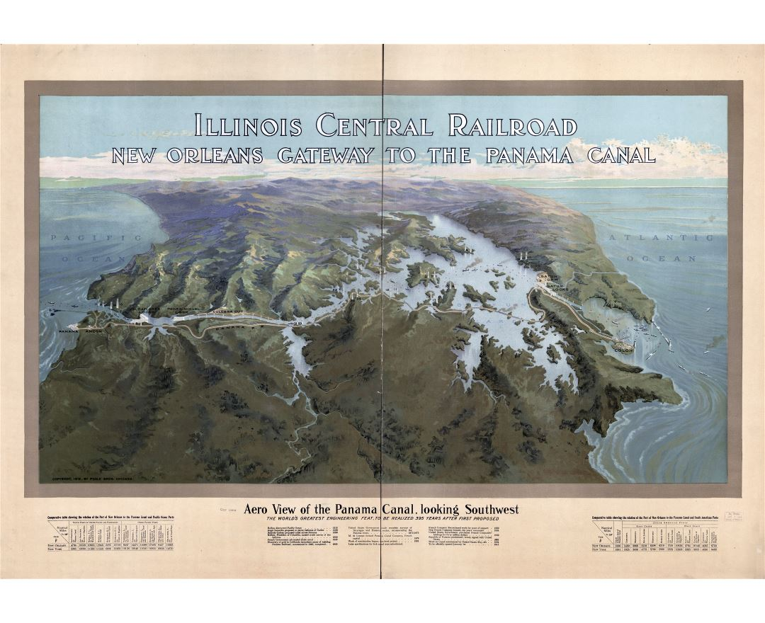Large scale detailed old panoramic map of Panama canal - 1912