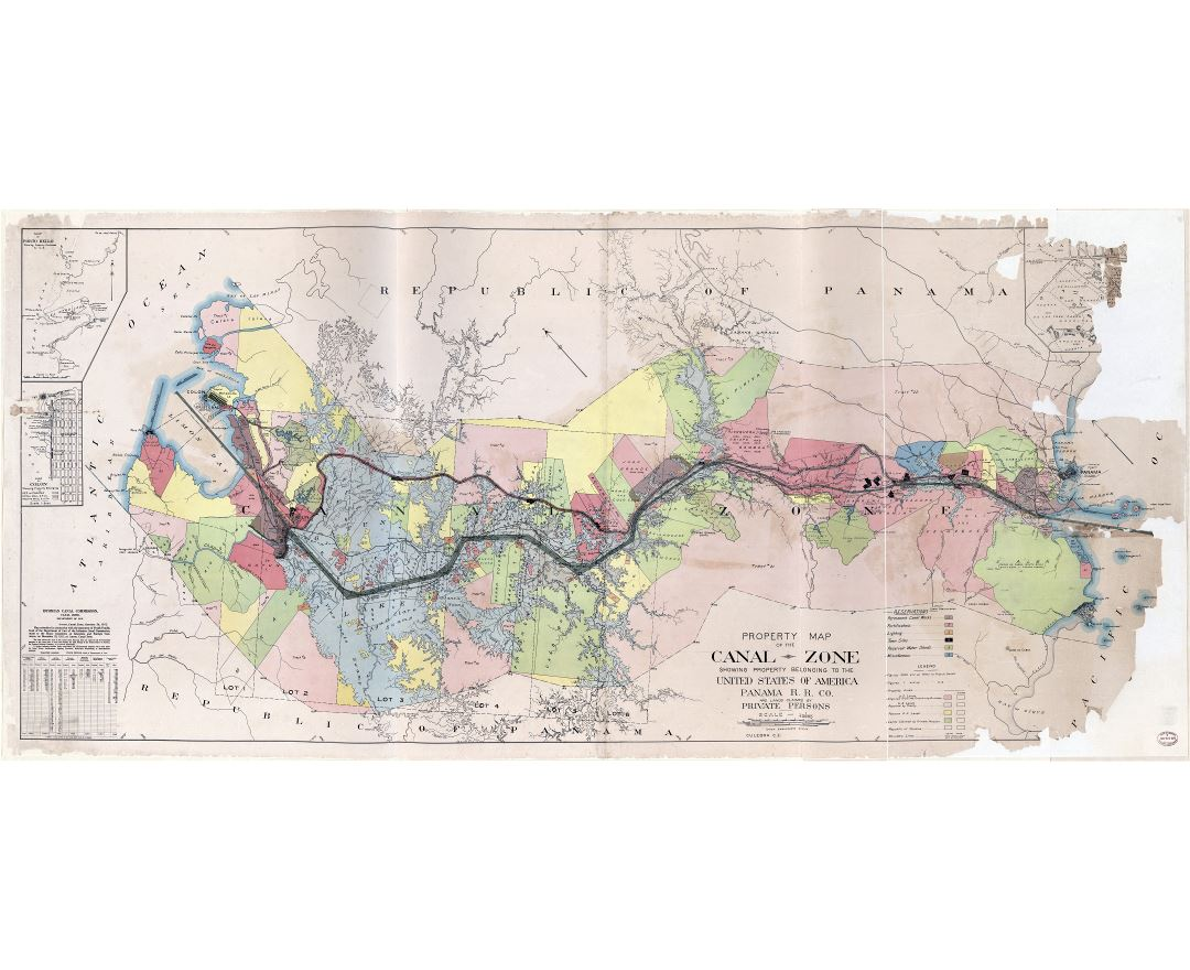Large scale detailed old property map of the Panama canal zone - 1912