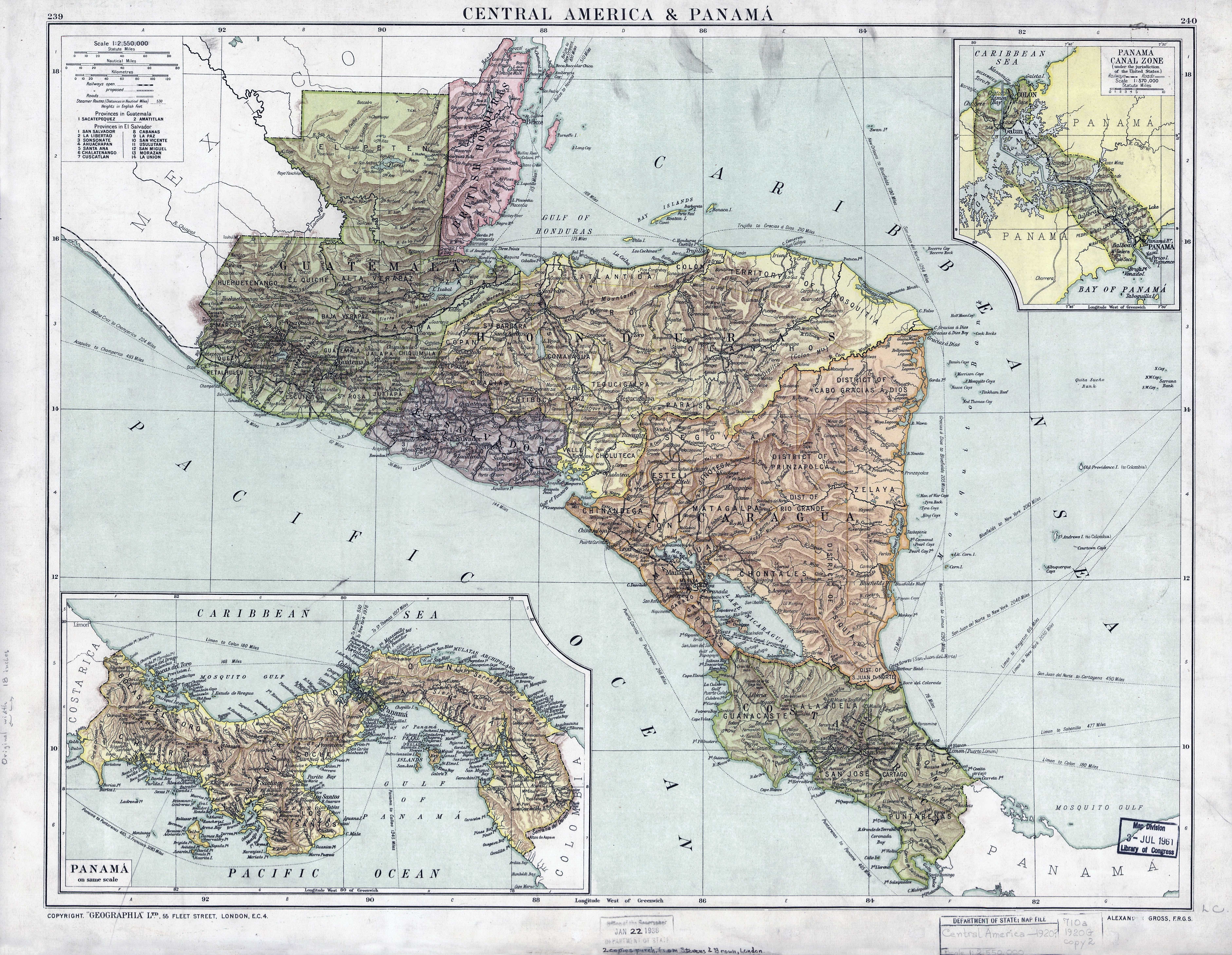 Large scale old map of Central America and Panama - 1920 ...