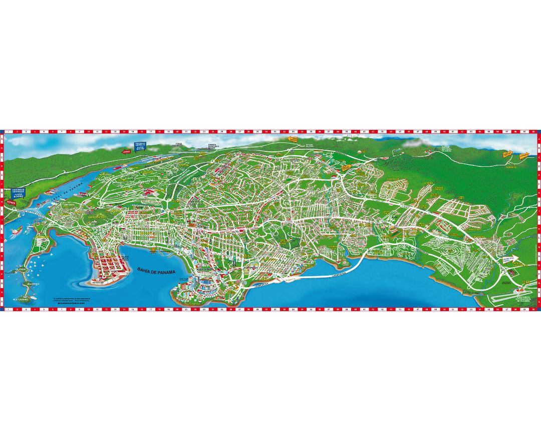 Panoramic map of the Panama canal