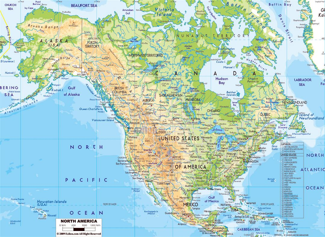 Physical map of North America with roads and major cities